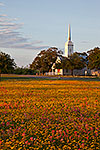 God's Blessing - Church and Wildflowers Sunset Landscape by Gary Regner