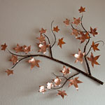 Autumn Sweetgum Branch - Copper Metal Art Sculpture by Gary Regner